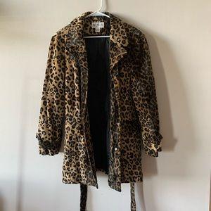 Vintage faux fur leopard animal print trench coat